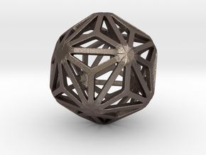 Triakis Icosahedron in Polished Bronzed-Silver Steel: Small