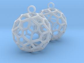 Pentagonal Hexecontahedron Earrings in Smooth Fine Detail Plastic