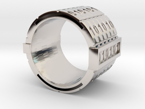 nfc binary ring in Rhodium Plated Brass