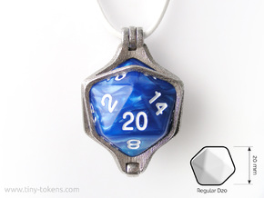 Dice Pendant - D20 - 20mm  in Polished Bronzed-Silver Steel: Large