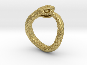 Ouroboros Snake Ring in Natural Brass: 2 / 41.5
