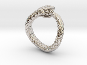 Ouroboros Snake Ring in Rhodium Plated Brass: 2 / 41.5