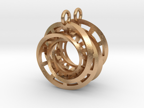 Interlocking Möbius Ladders Earrings in Natural Bronze (Interlocking Parts)