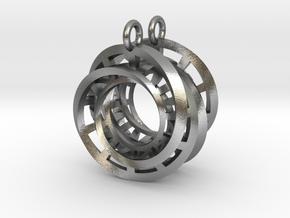 Interlocking Möbius Ladders Earrings in Natural Silver (Interlocking Parts)