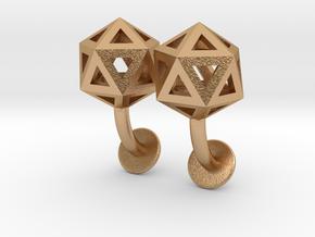 Icosahedron Cufflinks in Natural Bronze