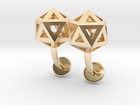 Icosahedron Cufflinks in 14k Gold Plated Brass