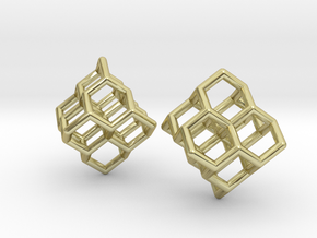 Diamond Earrings in 18k Gold Plated Brass