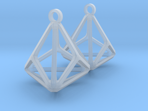 Triakis Tetrahedron Earrings in Smooth Fine Detail Plastic