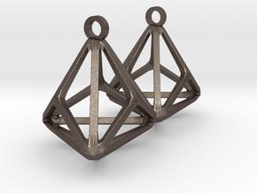 Triakis Tetrahedron Earrings in Polished Bronzed-Silver Steel