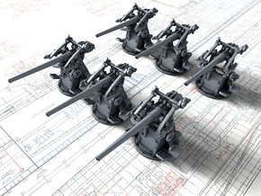 "1/700 12-pdr 3""/45 (76.2 cm) 20cwt Guns x6 in Smoothest Fine Detail Plastic"