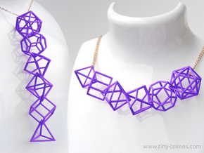Polyhedral Dice Set Wireframe Pendant in Purple Processed Versatile Plastic