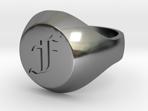 """Initial Ring """"F"""" in Polished Silver"""