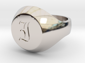 """Initial Ring """"I"""" in Rhodium Plated Brass"""
