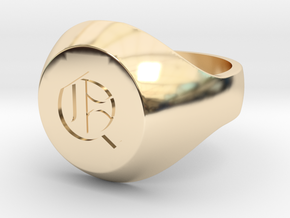 """Initial Ring """"Q"""" in 14K Yellow Gold"""