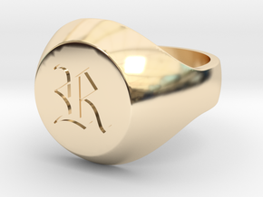 "Initial Ring ""R"" in 14k Gold Plated Brass"