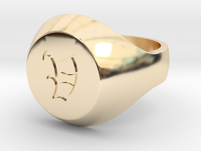 "Initial Ring ""V"" in 14k Gold Plated Brass"