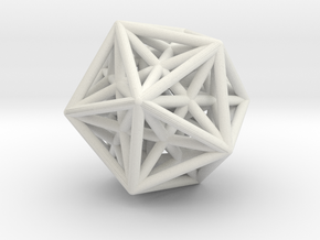 Icosahedron & Dodecahedron Struts Connected in White Natural Versatile Plastic