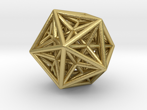 Icosahedron & Dodecahedron Struts Connected in Natural Brass