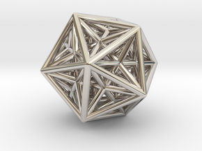 Icosahedron & Dodecahedron Struts Connected in Platinum