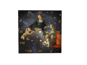 Leonardo da Vinci Space Wall Clock in Natural Full Color Sandstone