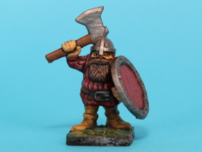 Dwarf warrior with axe and shield in Smooth Fine Detail Plastic