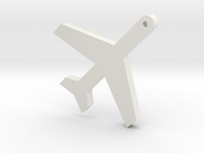 Airplane Silhouette Keychain in White Premium Versatile Plastic