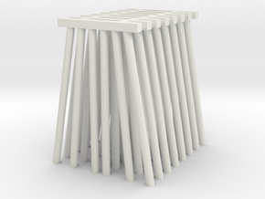 Tall Piers for Trestle N (1:160) Six Piles 8x in White Natural Versatile Plastic