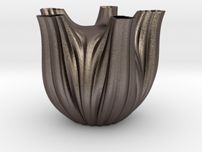 Vase 1752F in Polished Bronzed-Silver Steel
