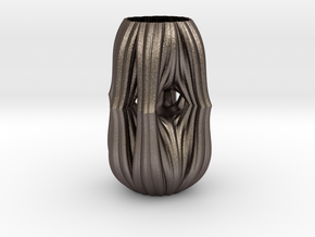 Vase 5411f in Polished Bronzed-Silver Steel