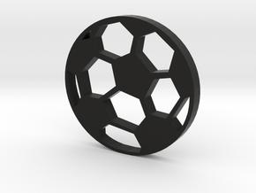 Soccer Ball Silhouette Keychain in Black Premium Versatile Plastic