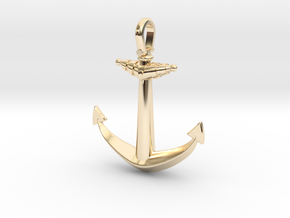 Ship anchor in 14k Gold Plated Brass