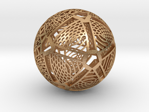 Icosahedron Projection on Sphere in Natural Bronze