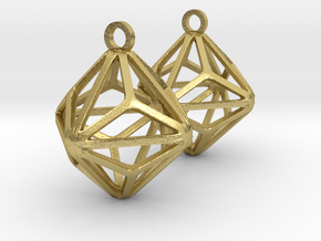 Triakis Octahedron Earrings in Natural Brass