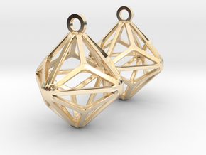 Triakis Octahedron Earrings in 14k Gold Plated Brass