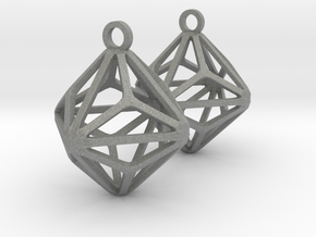 Triakis Octahedron Earrings in Gray Professional Plastic