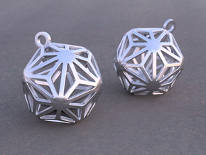 Triakis Icosahedron Earrings in Rhodium Plated Brass
