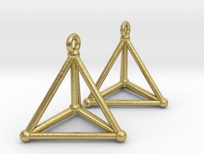 Hypersimplex Earrings in Natural Brass