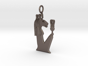 Wadjet-Bast in Polished Bronzed-Silver Steel