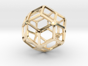 Rhombic Triacontahedron in 14k Gold Plated Brass: Small