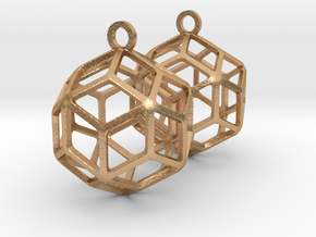 Rhombic Triacontahedron Earrings in Natural Bronze