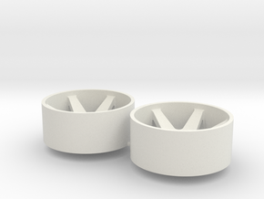2x Llantas Mini-Z Delantera Offset 2 - 20mm in White Natural Versatile Plastic