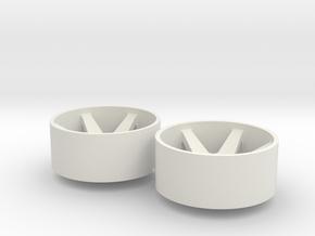 2x Llantas Mini-Z Delantera Offset 2 - 20mm in White Natural Versatile Plastic
