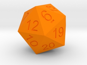 20 Sided Dice Normal size Icosahedron  in Orange Processed Versatile Plastic