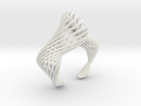 Liquid Tension Bangle - Hollow - S in White Natural Versatile Plastic