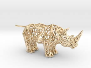 White Rhinoceros (adult) in 14k Gold Plated Brass