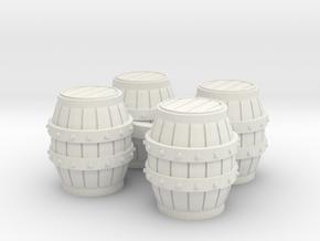 HO Scale Barrels in White Natural Versatile Plastic