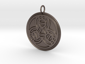 Borre Style Medallion with simple bail (steel) in Polished Bronzed-Silver Steel