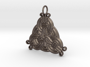 Borre Style Trinity Pendant in Polished Bronzed-Silver Steel