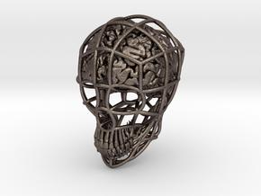 Skull-i ( Brain ) in Polished Bronzed-Silver Steel