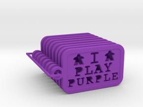 I PLAY PURPLE - Meeple keychain (8) in Purple Processed Versatile Plastic